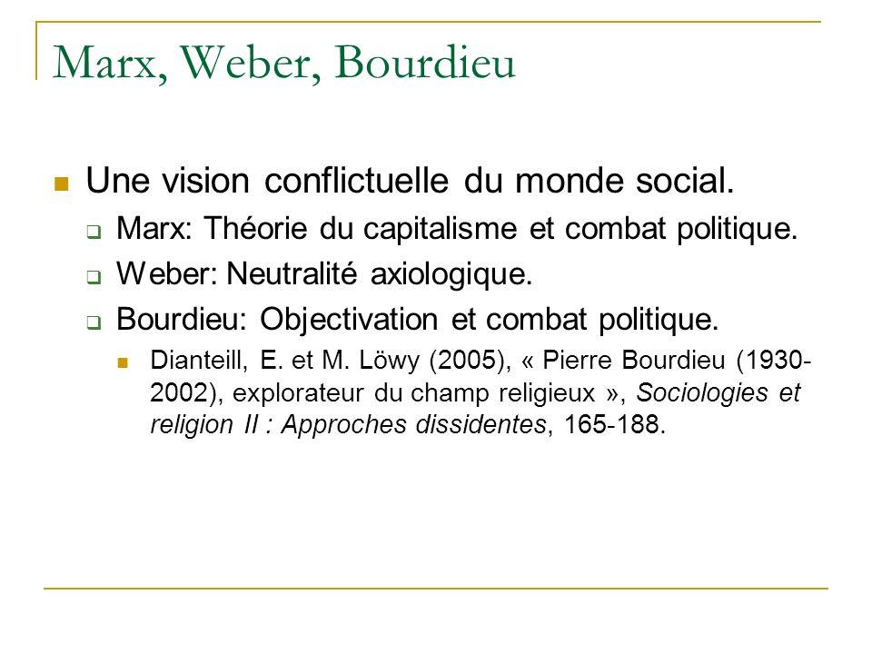 Marx, Weber, Bourdieu Une vision conflictuelle du monde social. Marx: Théorie du capitalisme et combat politique. Weber: Neutralité axiologique. Bourd