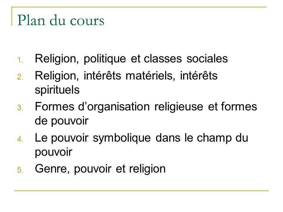 Plan du cours 1. Religion, politique et classes sociales 2. Religion, intérêts matériels, intérêts spirituels 3. Formes dorganisation religieuse et fo