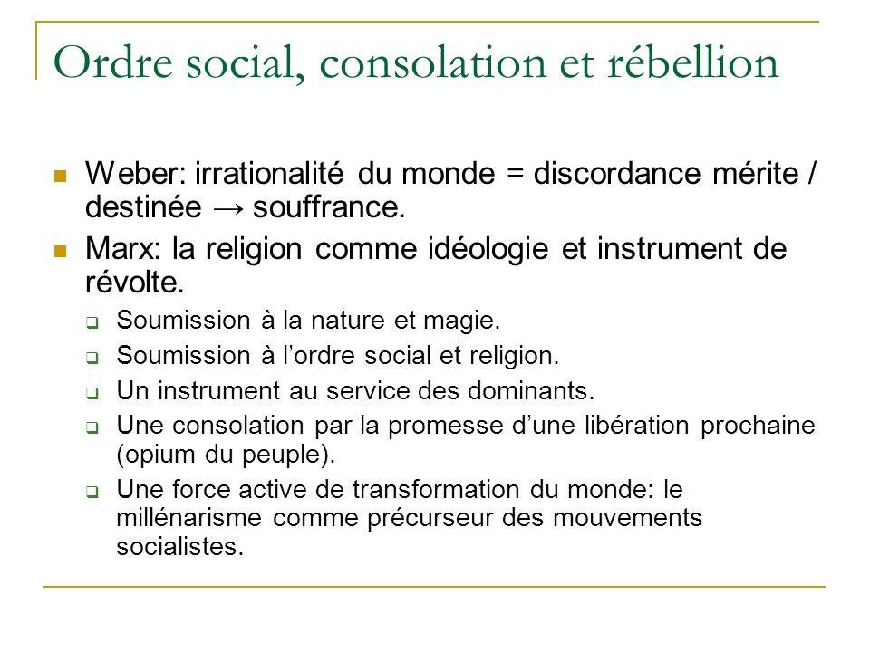 Ordre social, consolation et rébellion Weber: irrationalité du monde = discordance mérite / destinée souffrance. Marx: la religion comme idéologie et