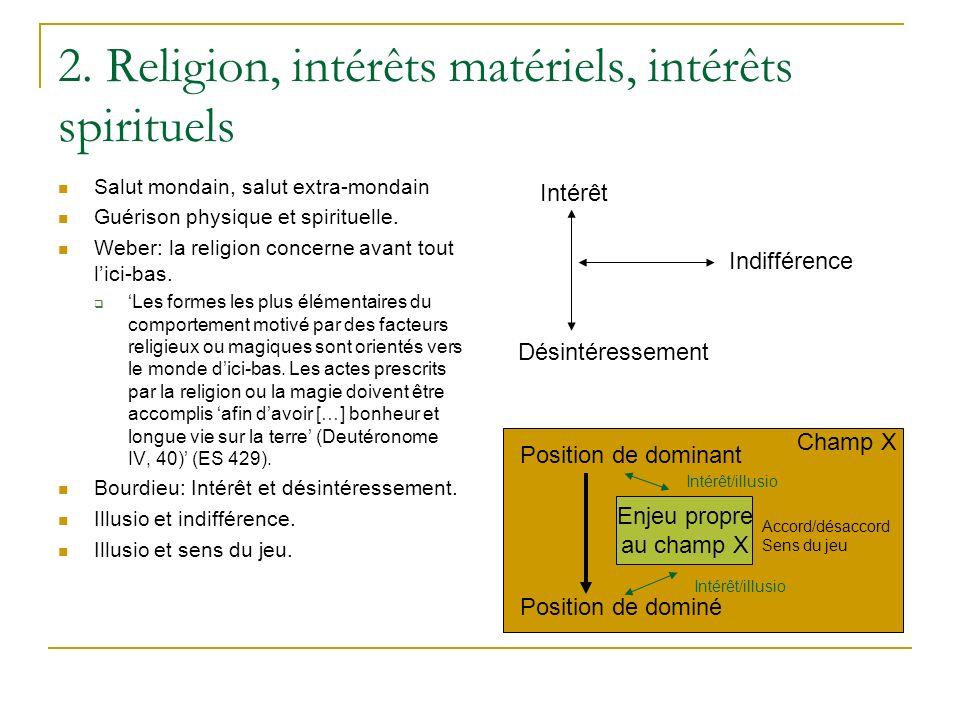 2. Religion, intérêts matériels, intérêts spirituels Salut mondain, salut extra-mondain Guérison physique et spirituelle. Weber: la religion concerne