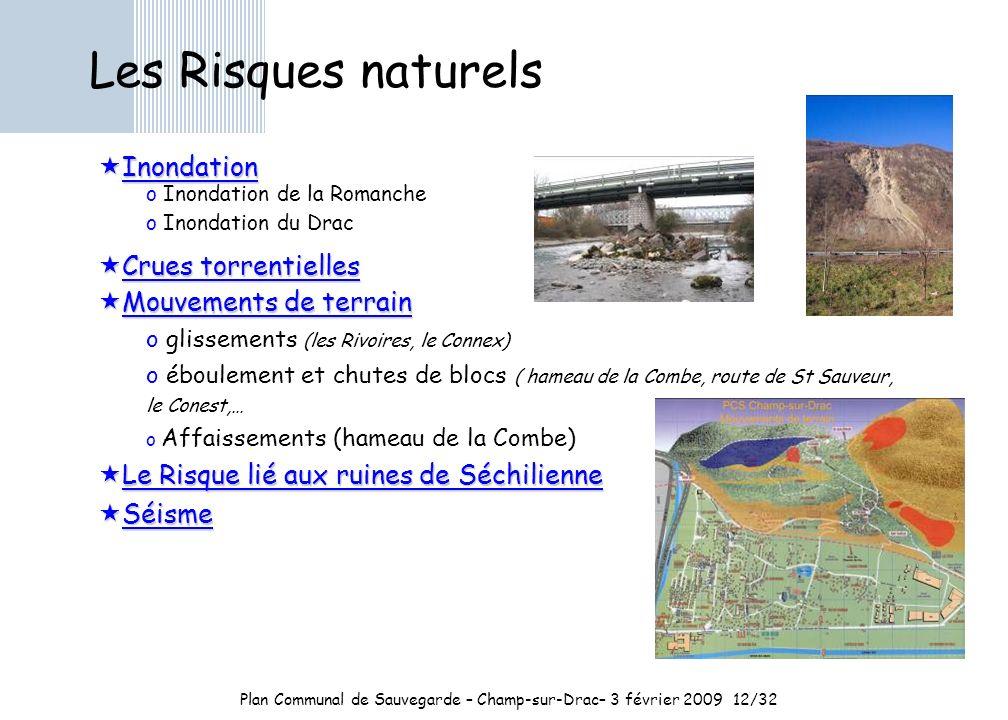 Plan Communal de Sauvegarde – Champ-sur-Drac– 3 février 200912/32 Les Risques naturels Inondation Inondation o Inondation de la Romanche o Inondation du Drac Crues torrentielles Crues torrentielles Mouvements de terrain Mouvements de terrain o glissements (les Rivoires, le Connex) o éboulement et chutes de blocs ( hameau de la Combe, route de St Sauveur, le Conest,… o Affaissements (hameau de la Combe) Le Risque lié aux ruines de Séchilienne Le Risque lié aux ruines de Séchilienne Séisme Séisme