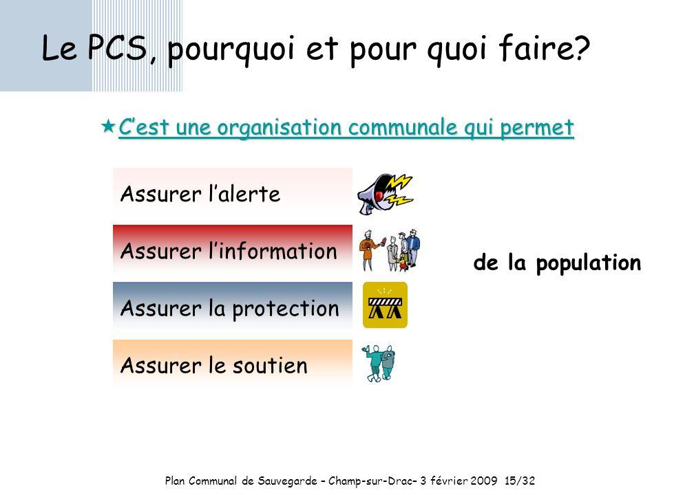 Plan Communal de Sauvegarde – Champ-sur-Drac– 3 février 200915/32 Le PCS, pourquoi et pour quoi faire.