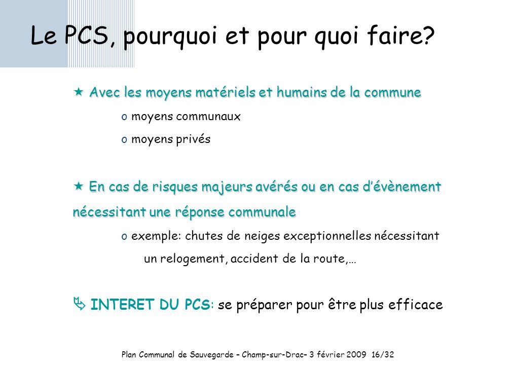 Plan Communal de Sauvegarde – Champ-sur-Drac– 3 février 200916/32 Le PCS, pourquoi et pour quoi faire.