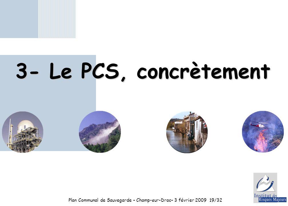 Plan Communal de Sauvegarde – Champ-sur-Drac– 3 février 200919/32 3- Le PCS, concrètement