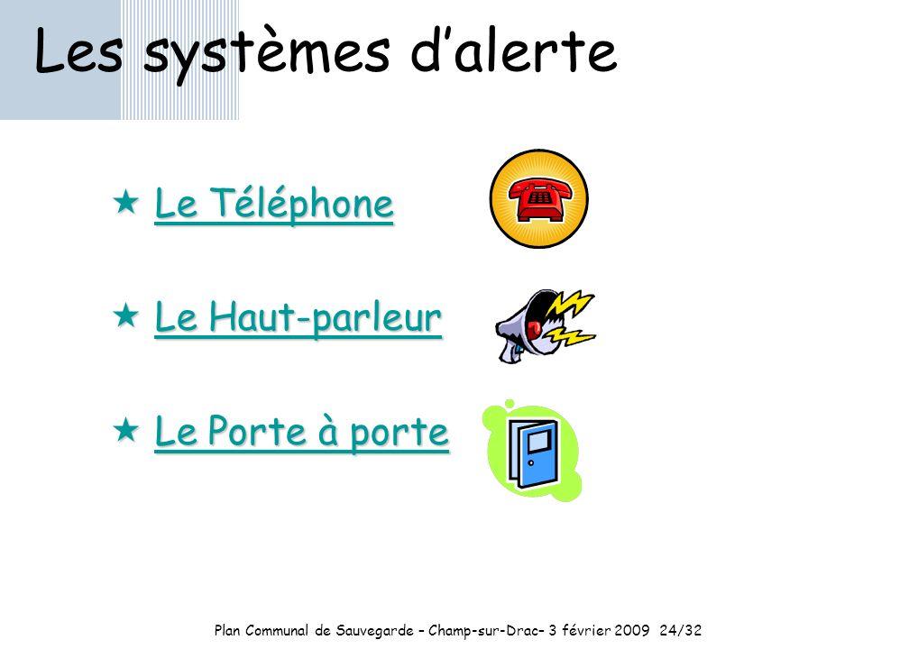 Plan Communal de Sauvegarde – Champ-sur-Drac– 3 février 200924/32 Les systèmes dalerte Le Téléphone Le Téléphone Le Haut-parleur Le Haut-parleur Le Porte à porte Le Porte à porte