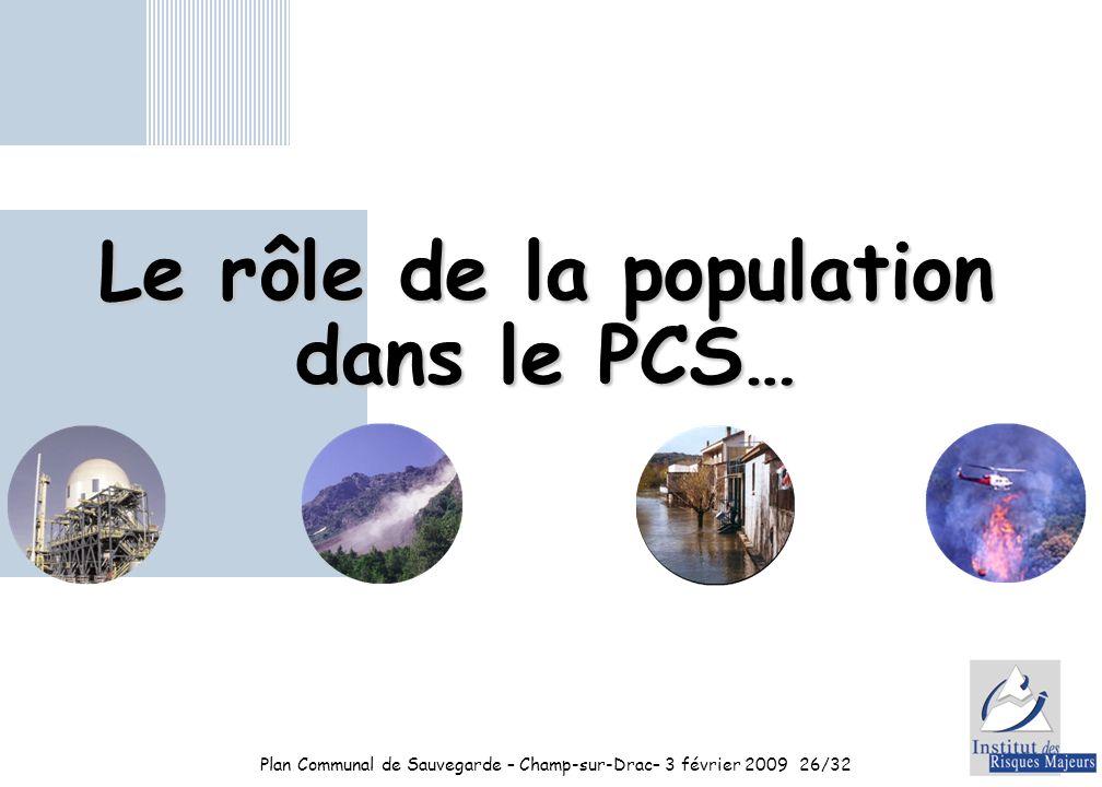 Plan Communal de Sauvegarde – Champ-sur-Drac– 3 février 200926/32 Le rôle de la population dans le PCS…