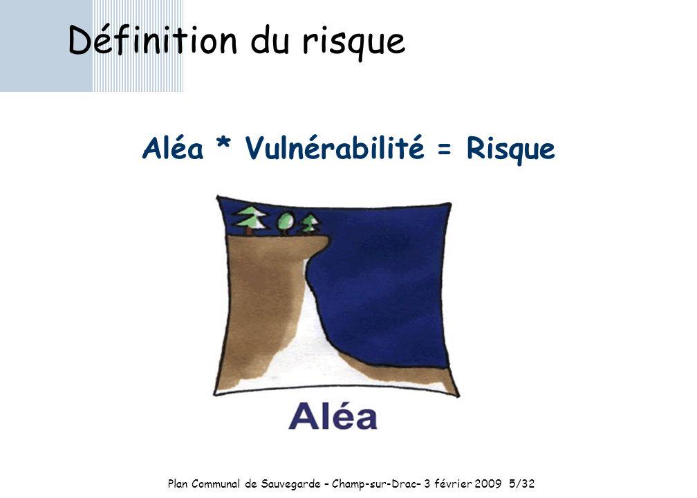Plan Communal de Sauvegarde – Champ-sur-Drac– 3 février 20095/32 Définition du risque Aléa * Vulnérabilité = Risque