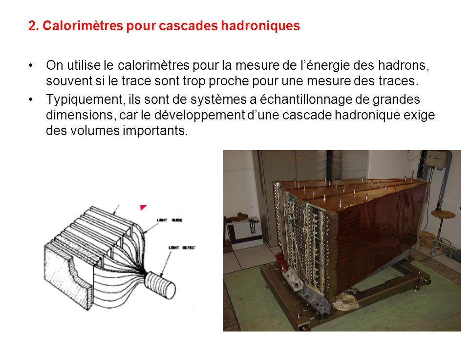 2. Calorimètres pour cascades hadroniques On utilise le calorimètres pour la mesure de lénergie des hadrons, souvent si le trace sont trop proche pour