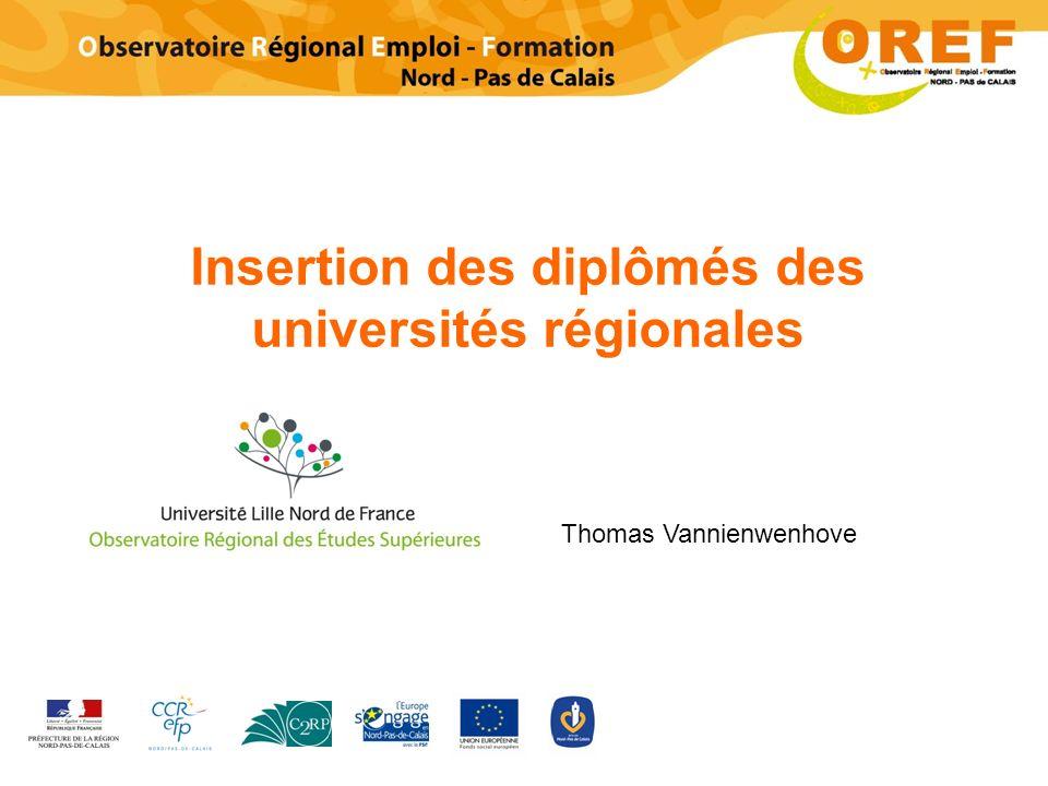 Insertion des diplômés des universités régionales Thomas Vannienwenhove