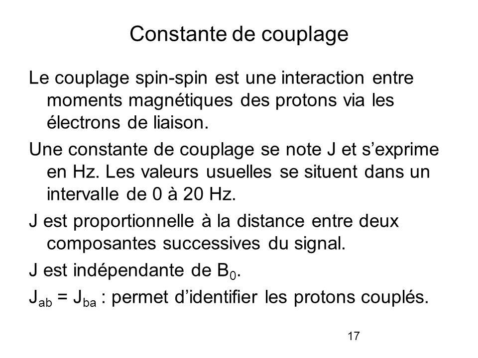 17 Constante de couplage Le couplage spin-spin est une interaction entre moments magnétiques des protons via les électrons de liaison. Une constante d