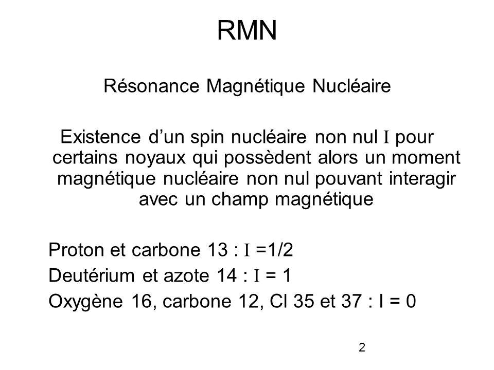 2 RMN Résonance Magnétique Nucléaire Existence dun spin nucléaire non nul I pour certains noyaux qui possèdent alors un moment magnétique nucléaire non nul pouvant interagir avec un champ magnétique Proton et carbone 13 : I =1/2 Deutérium et azote 14 : I = 1 Oxygène 16, carbone 12, Cl 35 et 37 : I = 0