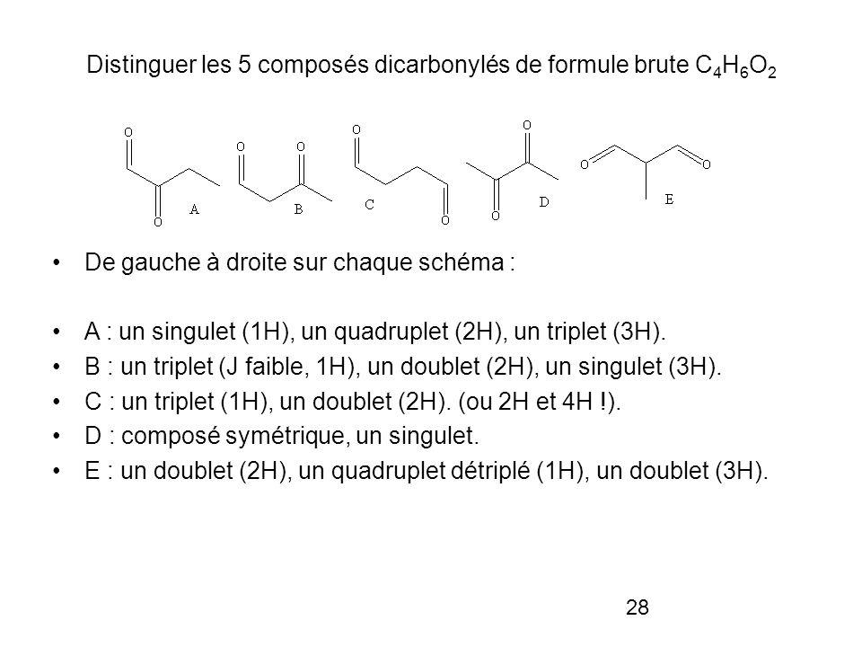 28 Distinguer les 5 composés dicarbonylés de formule brute C 4 H 6 O 2 De gauche à droite sur chaque schéma : A : un singulet (1H), un quadruplet (2H), un triplet (3H).