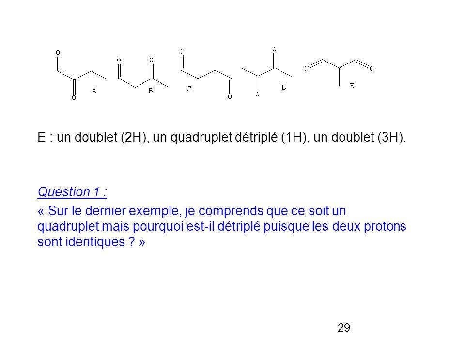 29 E : un doublet (2H), un quadruplet détriplé (1H), un doublet (3H). Question 1 : « Sur le dernier exemple, je comprends que ce soit un quadruplet ma