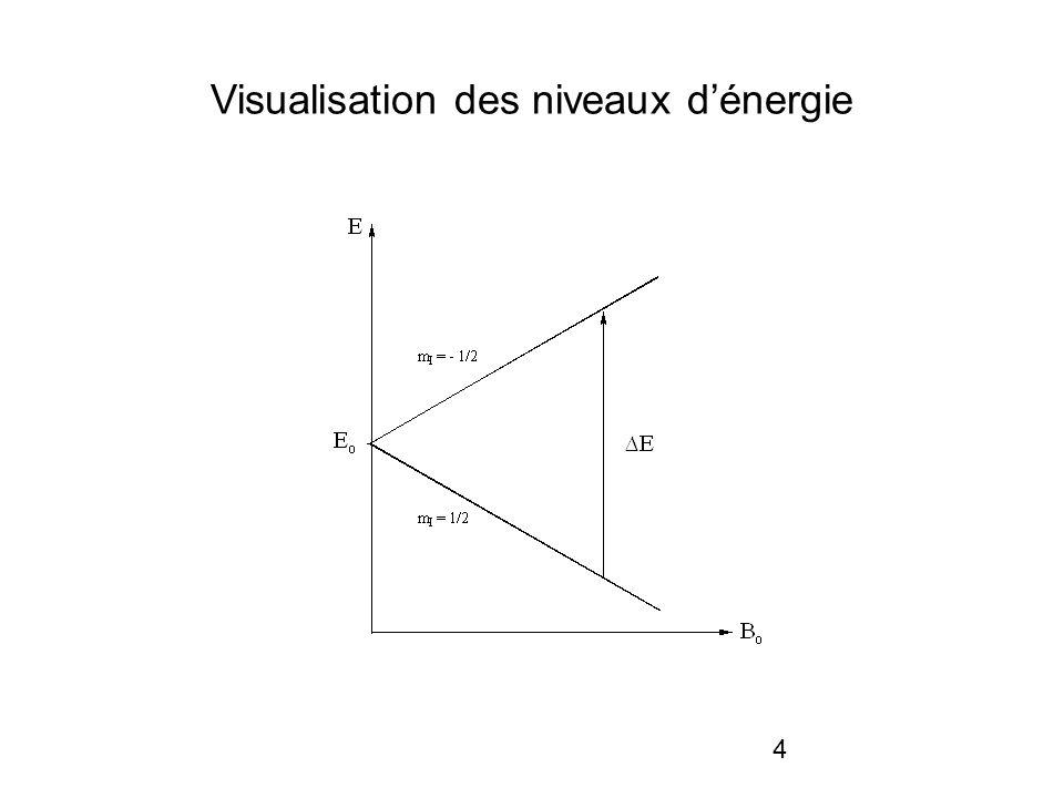 5 Résonance Si on applique un champ B oscillant et perpendiculaire à B 0, la fréquence 0 (fréquence propre) permettant la transition (résonance) entre les 2 niveaux est proportionnelle à B 0