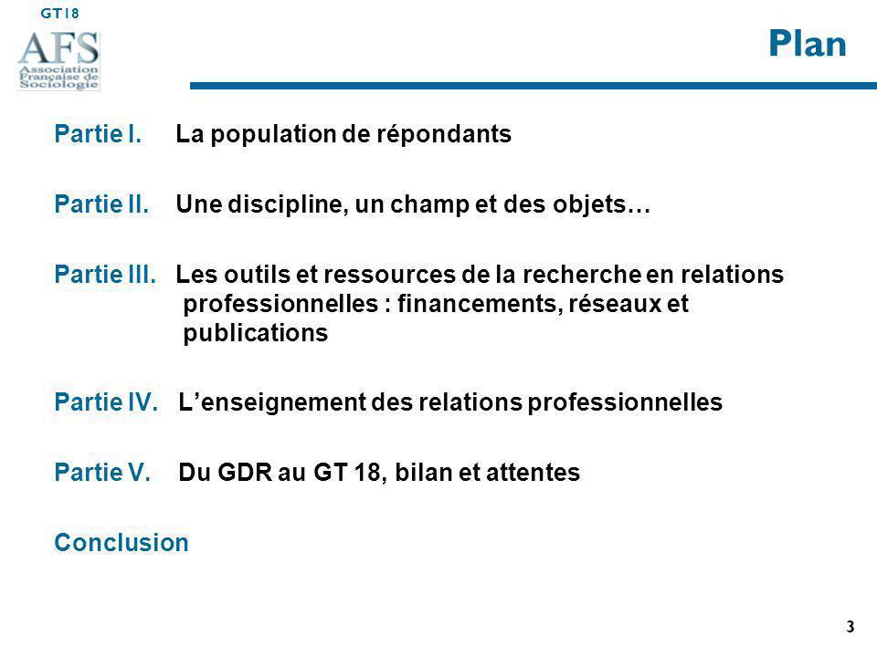 GT18 3 Plan Partie I.La population de répondants Partie II.