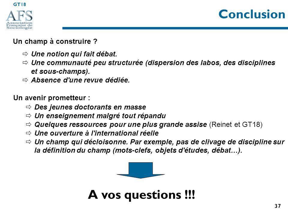 GT18 37 Conclusion A vos questions !!.Un champ à construire .
