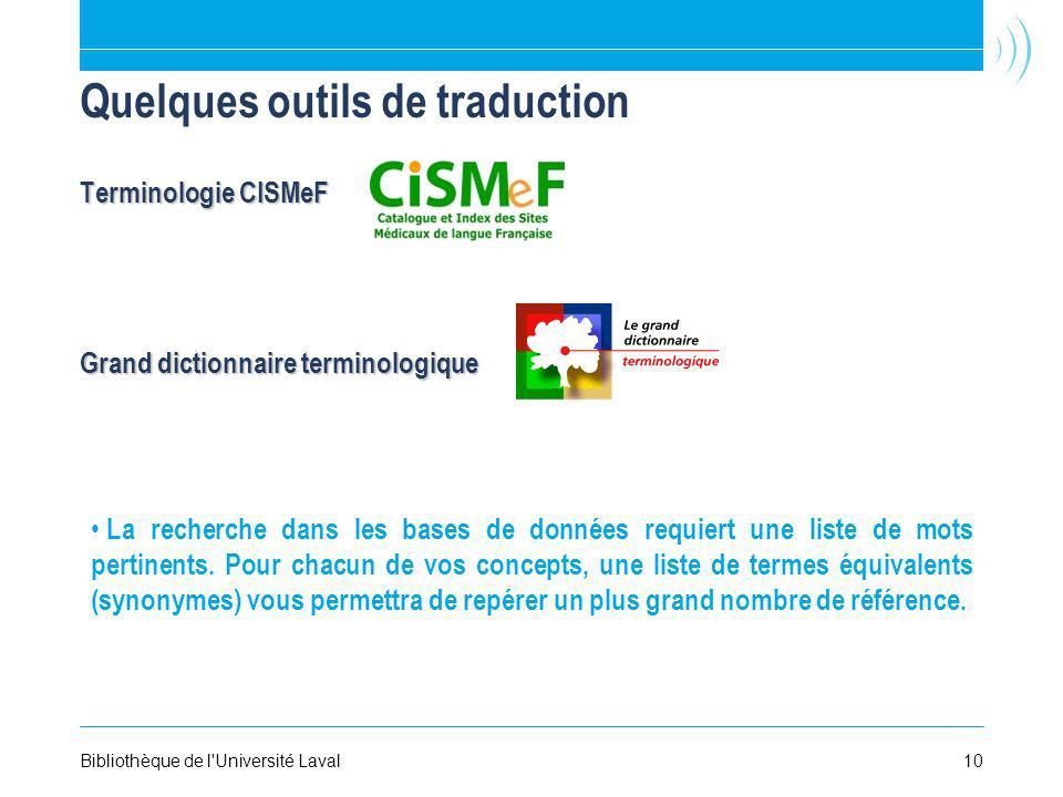 Quelques outils de traduction Terminologie CISMeF Grand dictionnaire terminologique La recherche dans les bases de données requiert une liste de mots pertinents.