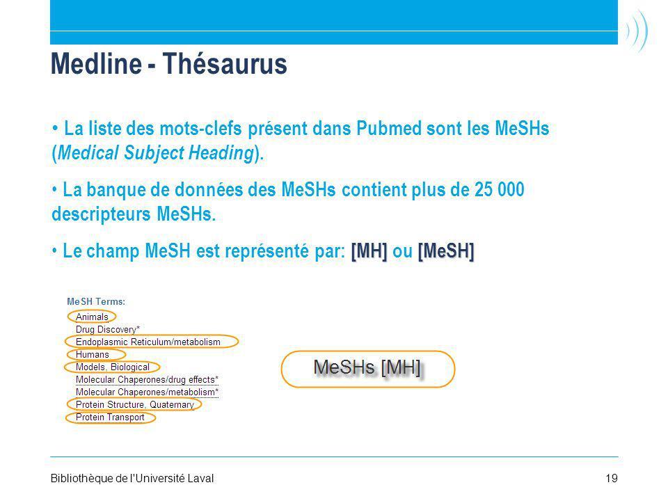 19Bibliothèque de l'Université Laval Medline - Thésaurus La liste des mots-clefs présent dans Pubmed sont les MeSHs ( Medical Subject Heading ). La ba