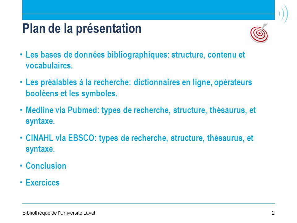 Plan de la présentation Les bases de données bibliographiques: structure, contenu et vocabulaires.