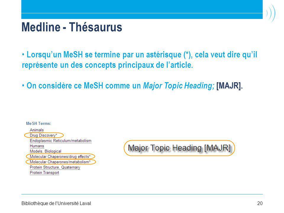 20Bibliothèque de l Université Laval Medline - Thésaurus Lorsquun MeSH se termine par un astérisque (*), cela veut dire quil représente un des concepts principaux de larticle.