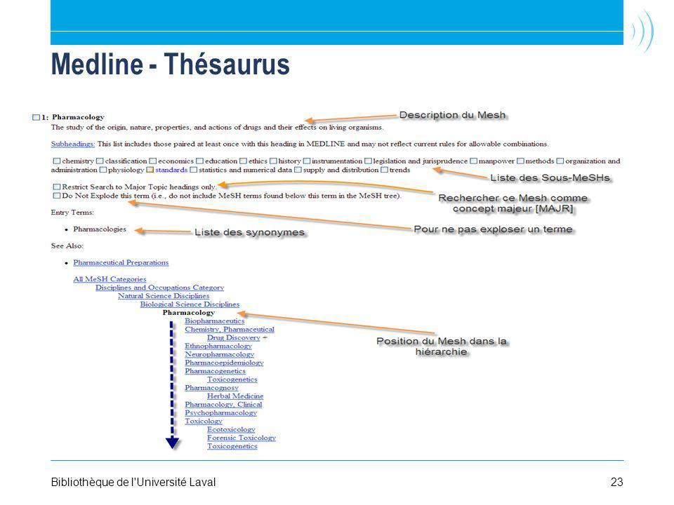 23Bibliothèque de l'Université Laval Medline - Thésaurus