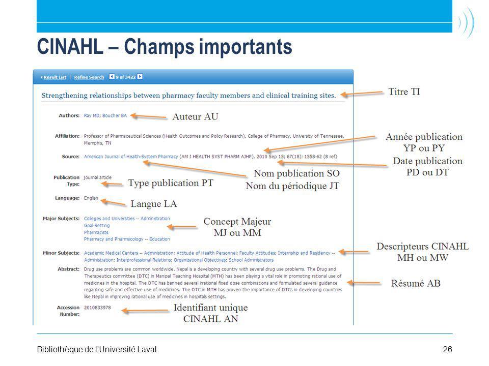 26Bibliothèque de l'Université Laval CINAHL – Champs importants