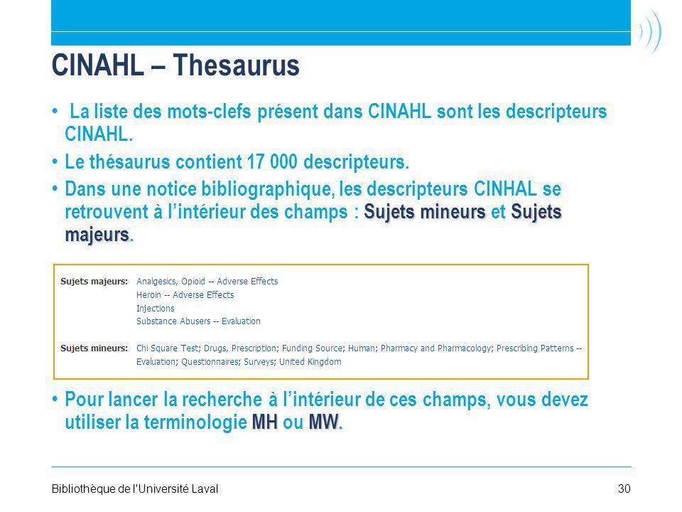 30Bibliothèque de l'Université Laval CINAHL – Thesaurus La liste des mots-clefs présent dans CINAHL sont les descripteurs CINAHL. Le thésaurus contien