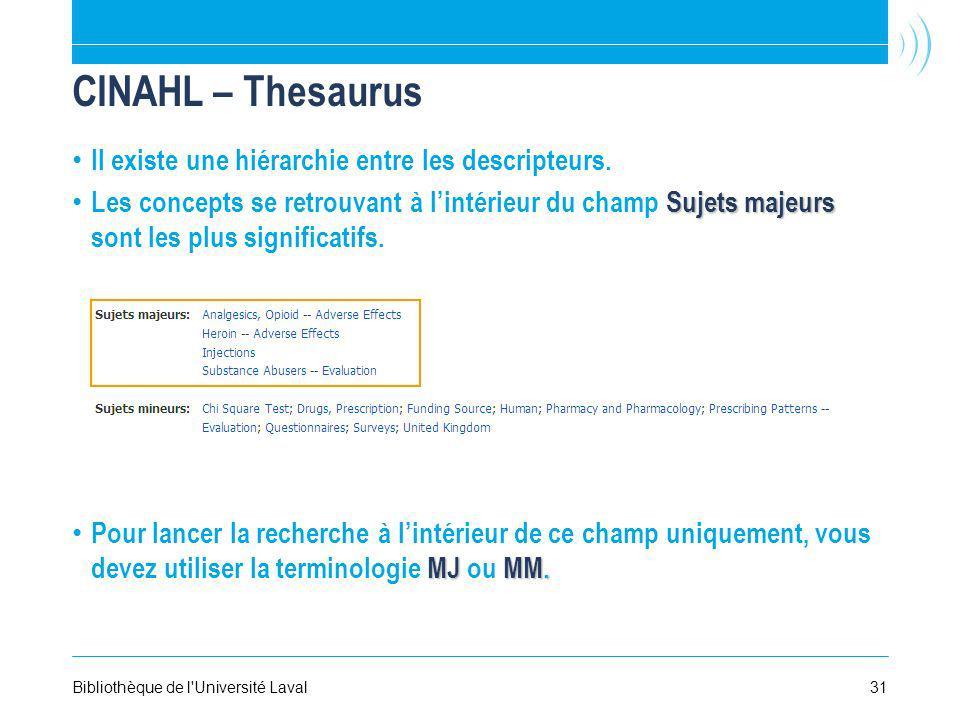 31Bibliothèque de l'Université Laval CINAHL – Thesaurus Il existe une hiérarchie entre les descripteurs. Sujets majeurs Les concepts se retrouvant à l