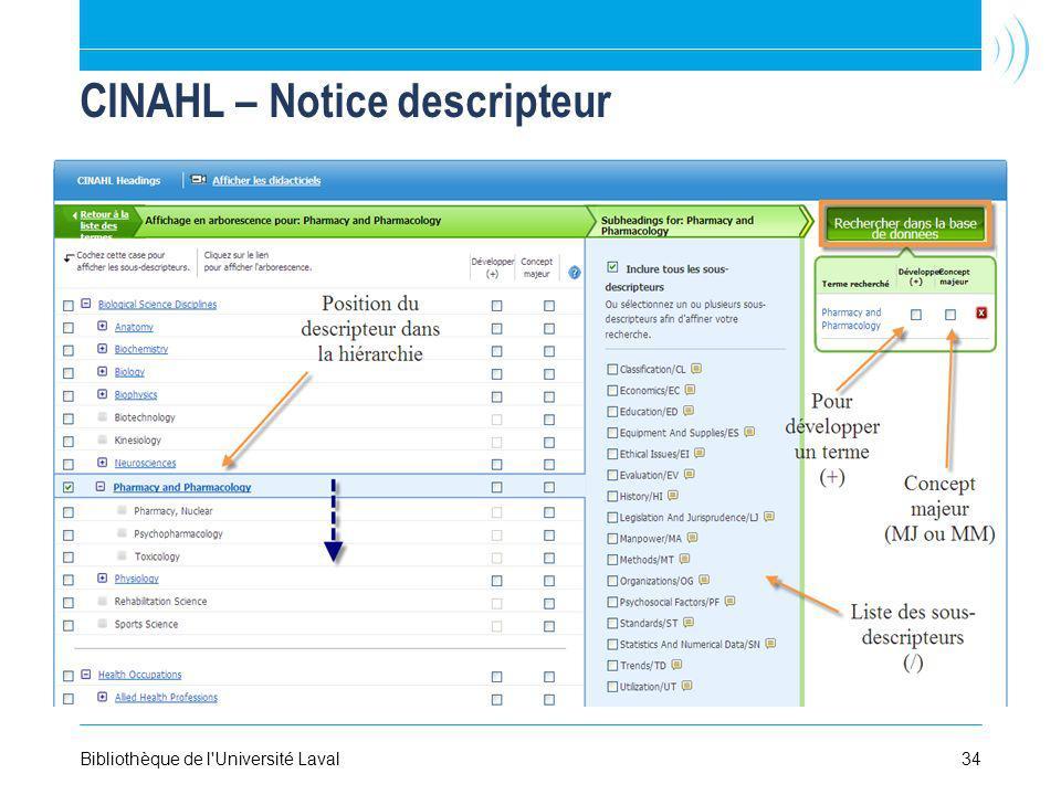 34Bibliothèque de l Université Laval CINAHL – Notice descripteur