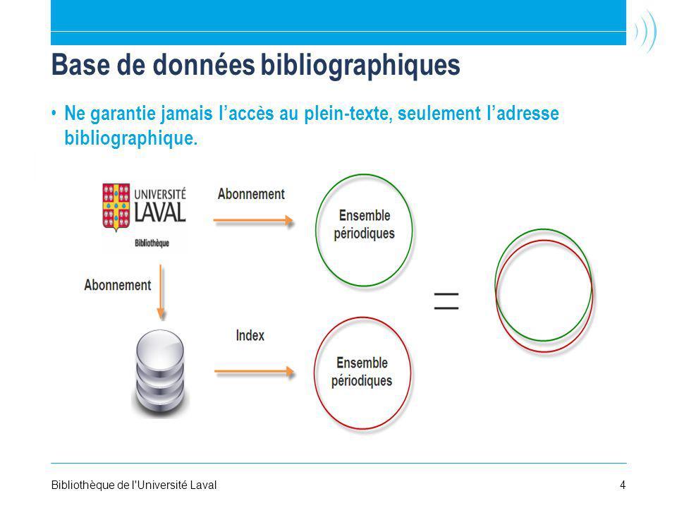 Base de données bibliographiques Ne garantie jamais laccès au plein-texte, seulement ladresse bibliographique. Bibliothèque de l'Université Laval4