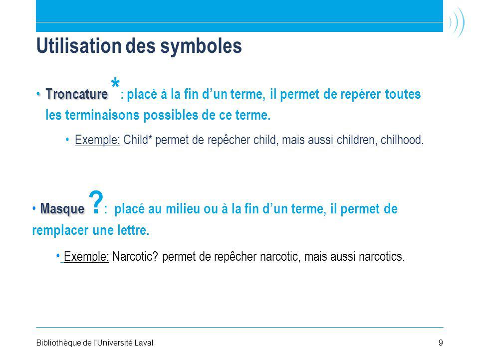 Utilisation des symboles Troncature Troncature * : placé à la fin dun terme, il permet de repérer toutes les terminaisons possibles de ce terme.