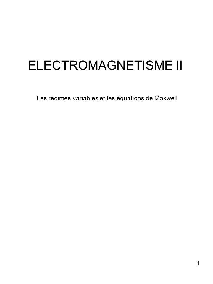 1 ELECTROMAGNETISME II Les régimes variables et les équations de Maxwell