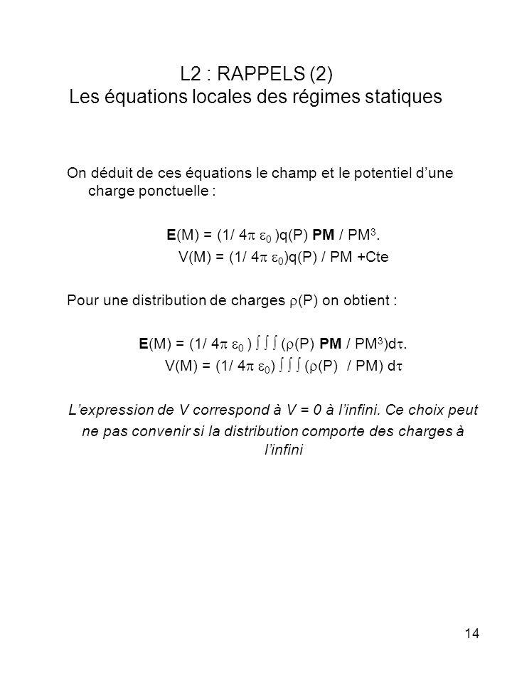14 L2 : RAPPELS (2) Les équations locales des régimes statiques On déduit de ces équations le champ et le potentiel dune charge ponctuelle : E(M) = (1