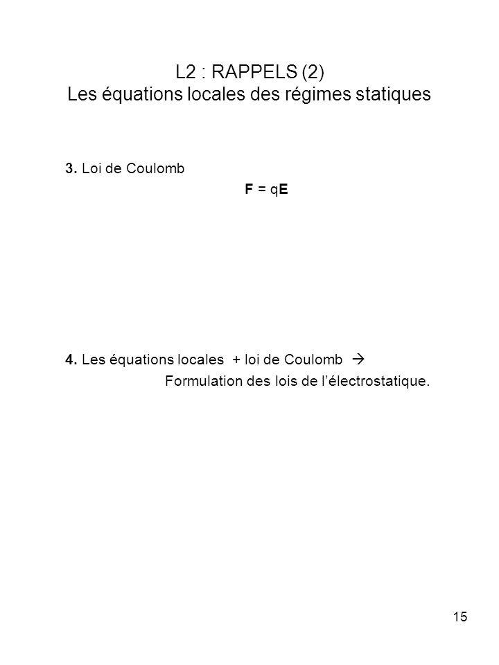15 L2 : RAPPELS (2) Les équations locales des régimes statiques 3. Loi de Coulomb F = qE 4. Les équations locales + loi de Coulomb Formulation des loi
