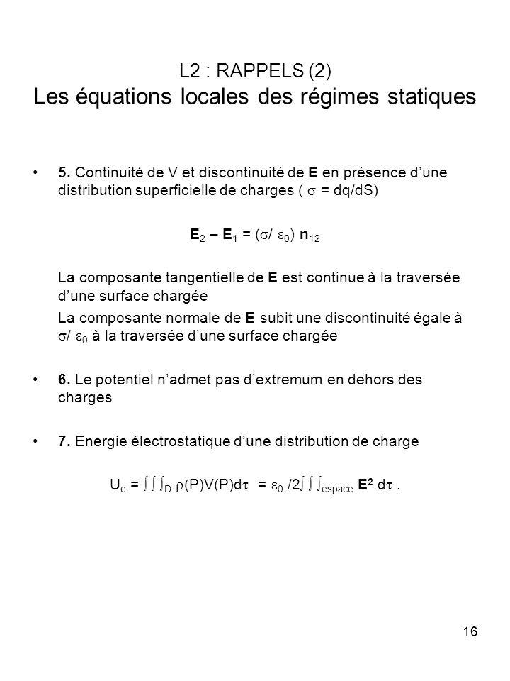 16 L2 : RAPPELS (2) Les équations locales des régimes statiques 5. Continuité de V et discontinuité de E en présence dune distribution superficielle d