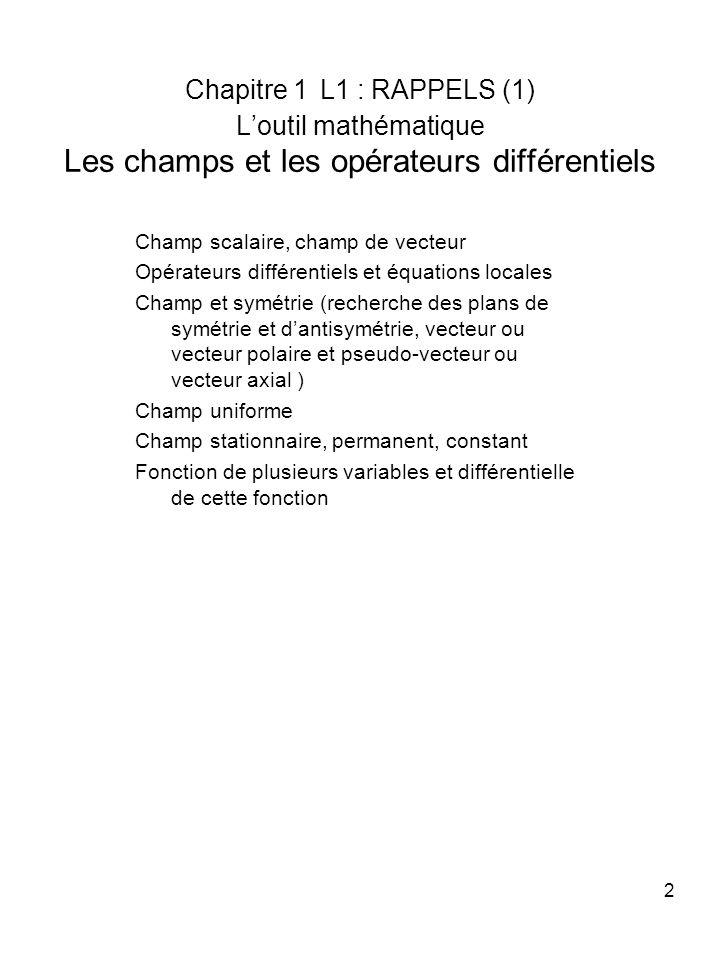2 Chapitre 1 L1 : RAPPELS (1) Loutil mathématique Les champs et les opérateurs différentiels Champ scalaire, champ de vecteur Opérateurs différentiels