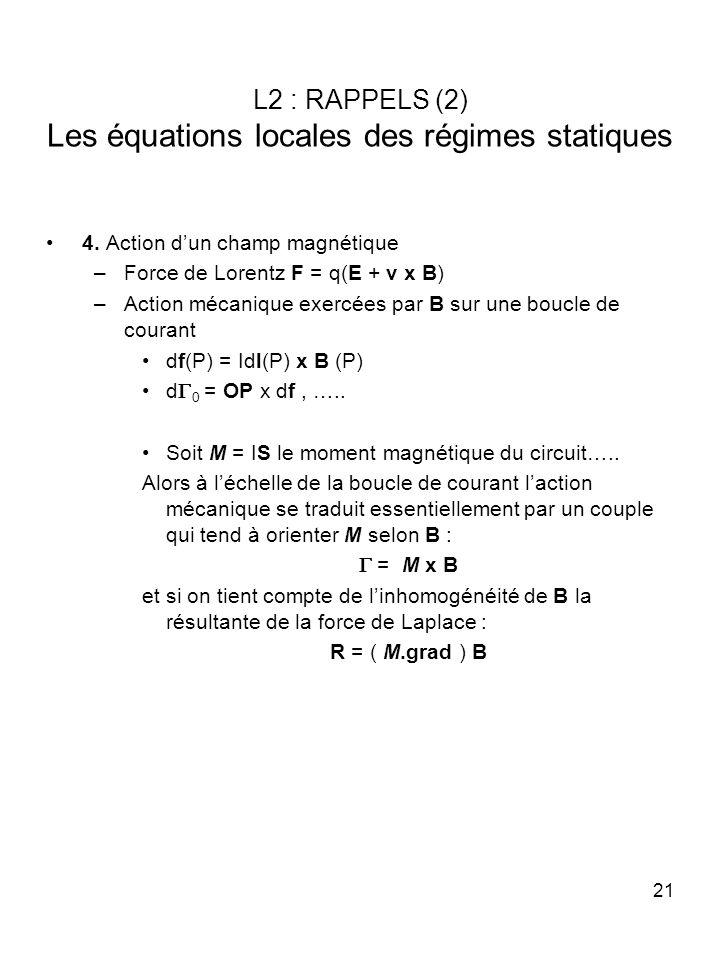 21 L2 : RAPPELS (2) Les équations locales des régimes statiques 4. Action dun champ magnétique –Force de Lorentz F = q(E + v x B) –Action mécanique ex