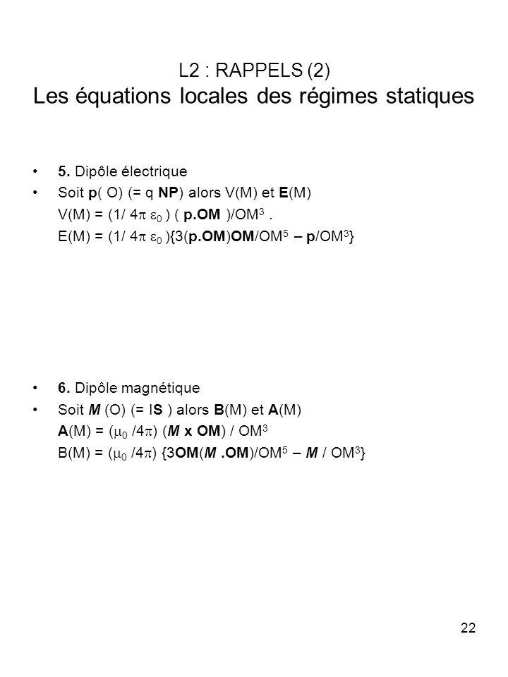 22 L2 : RAPPELS (2) Les équations locales des régimes statiques 5. Dipôle électrique Soit p( O) (= q NP) alors V(M) et E(M) V(M) = (1/ 4 0 ) ( p.OM )/