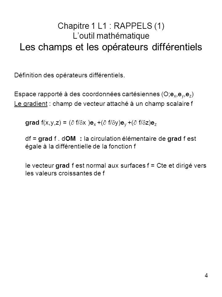 4 Chapitre 1 L1 : RAPPELS (1) Loutil mathématique Les champs et les opérateurs différentiels Définition des opérateurs différentiels. Espace rapporté