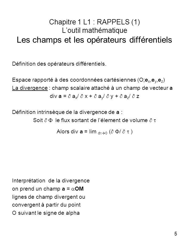 5 Chapitre 1 L1 : RAPPELS (1) Loutil mathématique Les champs et les opérateurs différentiels Définition des opérateurs différentiels. Espace rapporté