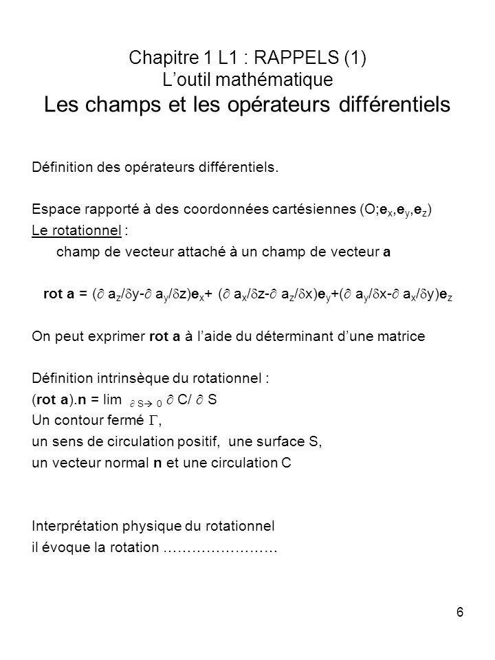 6 Chapitre 1 L1 : RAPPELS (1) Loutil mathématique Les champs et les opérateurs différentiels Définition des opérateurs différentiels. Espace rapporté