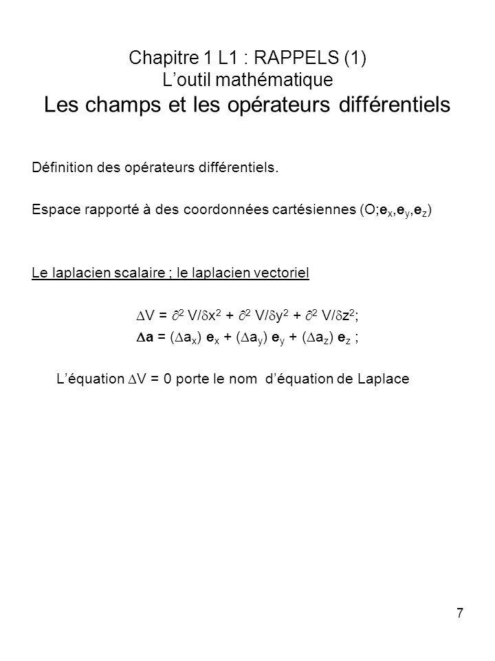 7 Chapitre 1 L1 : RAPPELS (1) Loutil mathématique Les champs et les opérateurs différentiels Définition des opérateurs différentiels. Espace rapporté