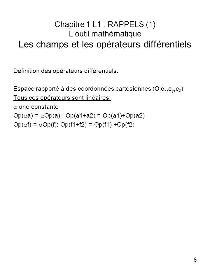 8 Chapitre 1 L1 : RAPPELS (1) Loutil mathématique Les champs et les opérateurs différentiels Définition des opérateurs différentiels. Espace rapporté