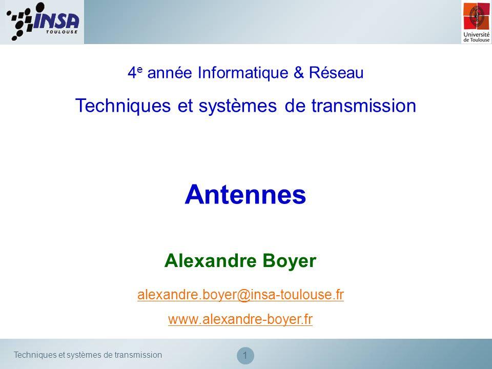 Techniques et systèmes de transmission 32 Caractéristiques des antennes Dautres grandeurs sont utiles pour caractériser le lobe : Angle entre la direction du lobe principal et le premier zero Azimuth beamwidth Elevation beamwidth Tilt Angle douverture (beamwidth)
