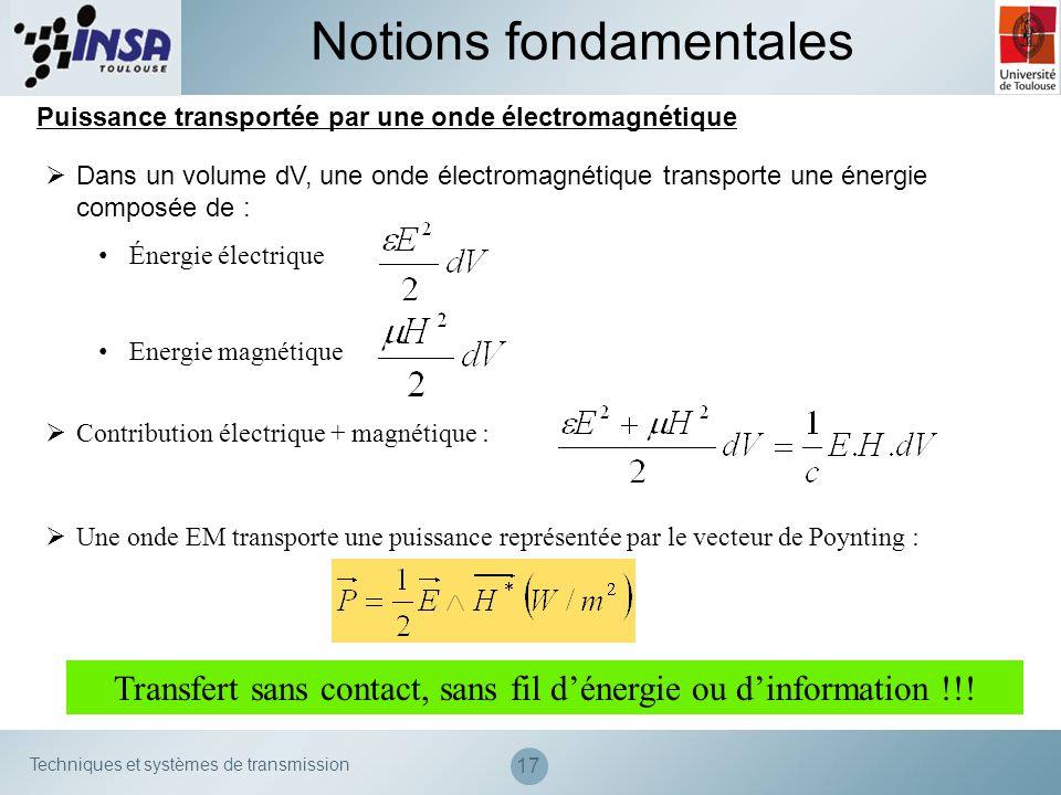 Techniques et systèmes de transmission 17 Puissance transportée par une onde électromagnétique Notions fondamentales Dans un volume dV, une onde élect