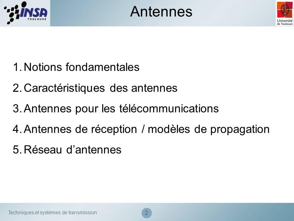 Techniques et systèmes de transmission 2 Antennes 1.Notions fondamentales 2.Caractéristiques des antennes 3.Antennes pour les télécommunications 4.Ant