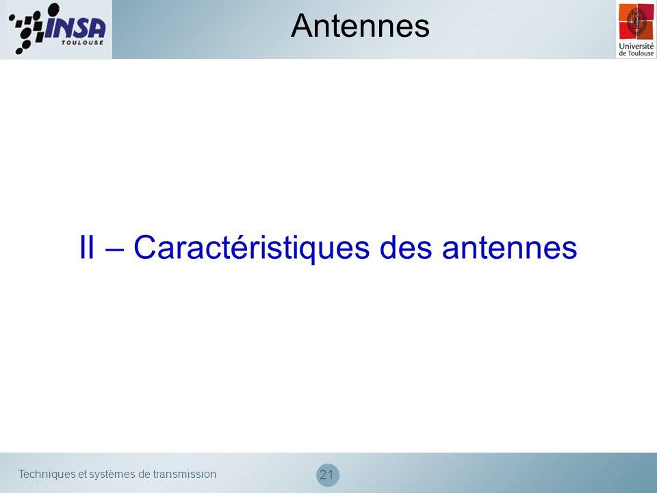 Techniques et systèmes de transmission 21 II – Caractéristiques des antennes Antennes