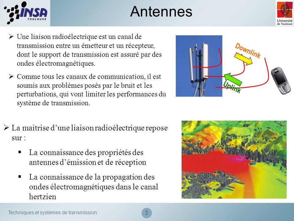 Techniques et systèmes de transmission 34 Caractéristiques des antennes Directivité, gain, rendement Le rendement η dune antenne traduit sa capacité à transmettre la puissance électrique en entrée P A sous forme de puissance rayonnée P R.