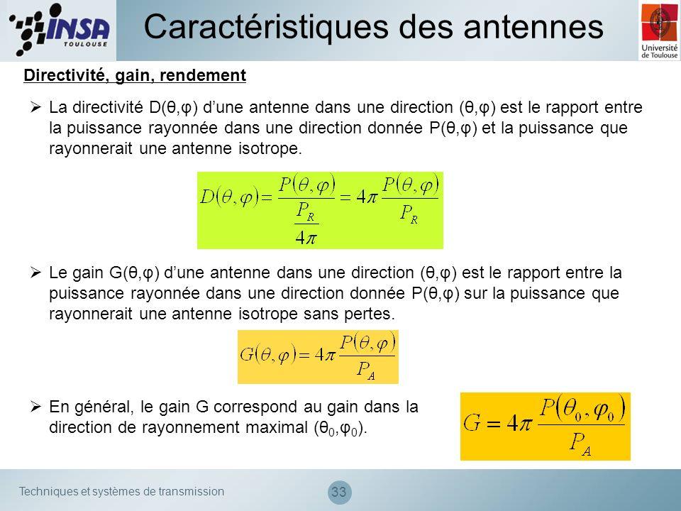 Techniques et systèmes de transmission 33 Caractéristiques des antennes Directivité, gain, rendement La directivité D(θ,φ) dune antenne dans une direc