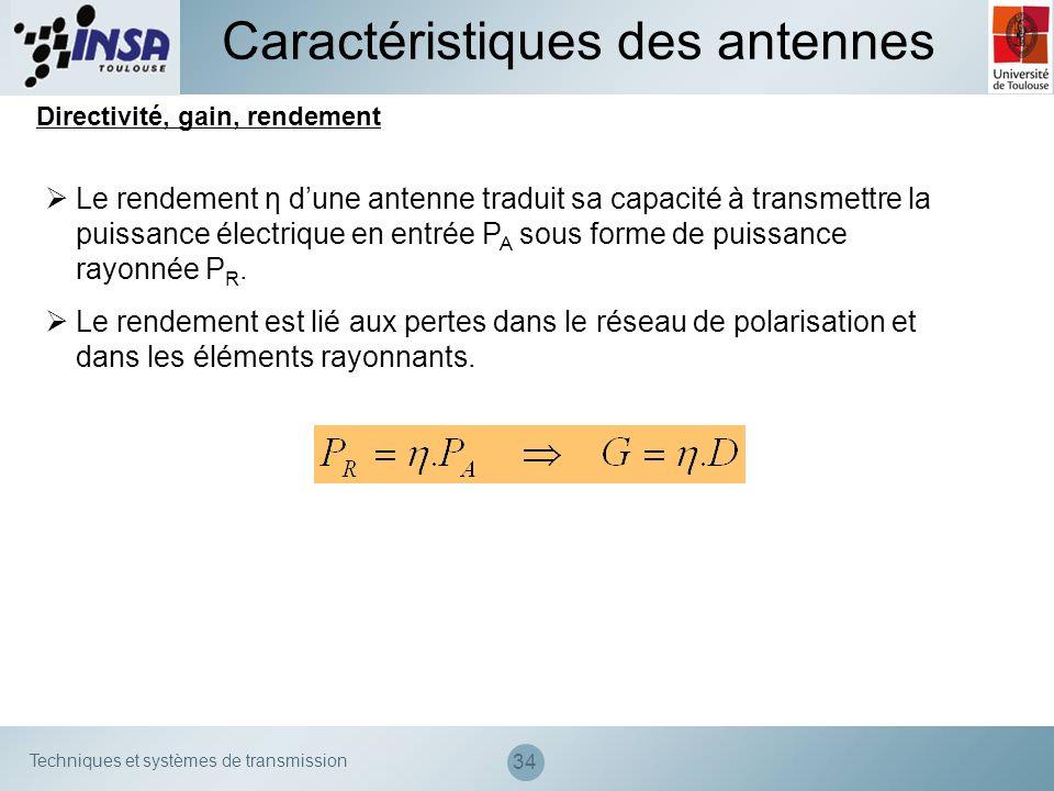 Techniques et systèmes de transmission 34 Caractéristiques des antennes Directivité, gain, rendement Le rendement η dune antenne traduit sa capacité à